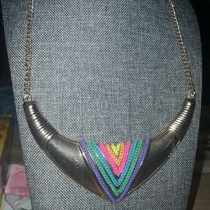 Fun Colorful Gold Tone Statement Necklace